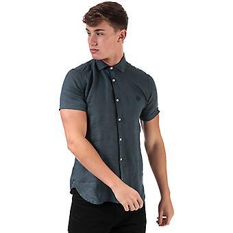 Men's Henri Lloyd Linen Short Sleeve Shirt in Blue