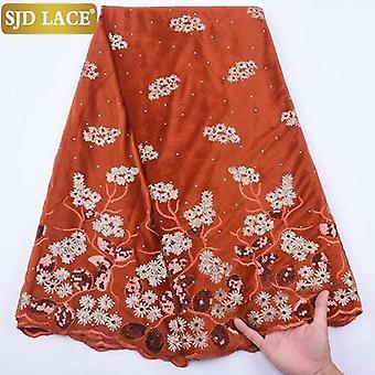 African Lace Fabric With Stones Nigerian Velvet Lace Fabric