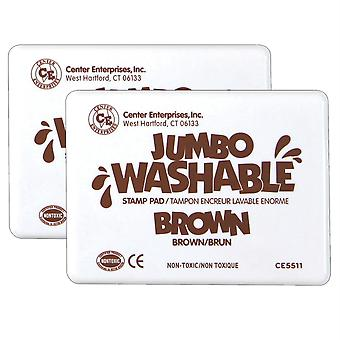 Jumbo Washable Unscented Stamp Pad, Brown, Pack Of 2