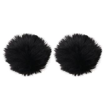 2 x Microphones Micro Cover Wind Muff Artificial Fur Windproof Covers
