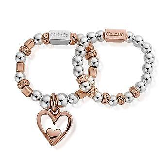 Chlobo Rose Gold und Silber innere Liebe Set von 2 Ringe