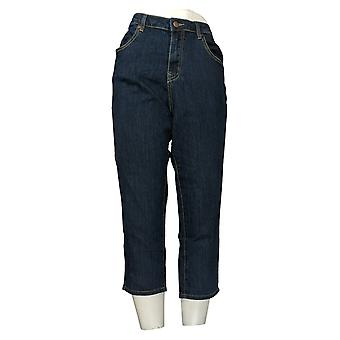 BROOKE SHIELDS Timeless Women's Jeans 12 Petite Slim Leg Crop Blue A307976