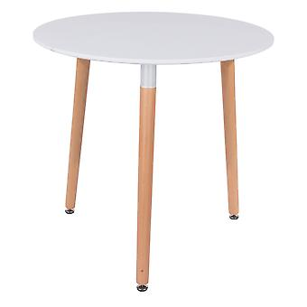 Penny round table with wooden legs, white