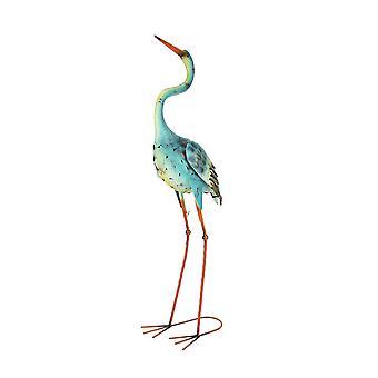 Hand Painted Blue and Yellow Metal Crane Indoor/Outdoor Shore Bird Sculpture