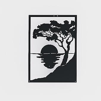 Sonnenuntergang Wanddekoration Schwarz Metall Farbe, L35xP1.5xA50 cm
