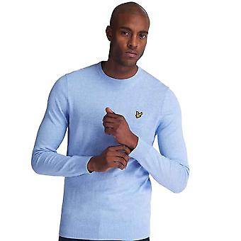 Lyle & Scott Cotton Merino Crew Jumper - Pool Blue Marl