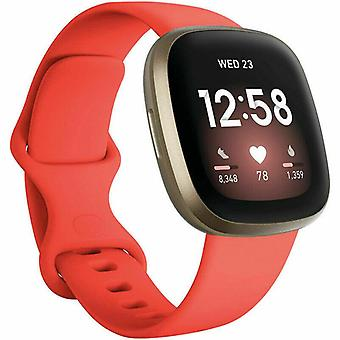 """for Fitbit Versa 3 / Sense Replacement Strap Silicone Band Bracelet Wrist[Small Fits Wrist 5.5"""" - 6.9"""",Red]"""