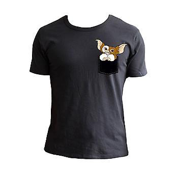 Men's Gremlins Pocket Gizmo Black Crew Neck T-Shirt