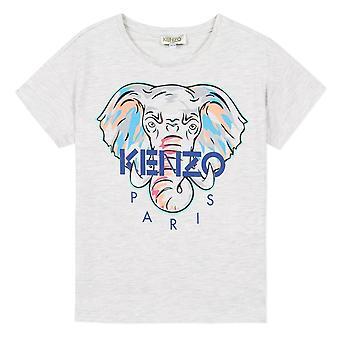 Kenzo tyttö elefantti logo harmaa t-paita kq10098