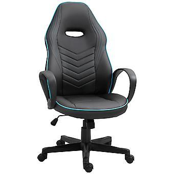 Vinsetto Home Office Faux Leather Executive Chair High Back Desk Gaming Gamer Swivel Chair Adjustable Height, Wheels, Arm, Black Blue
