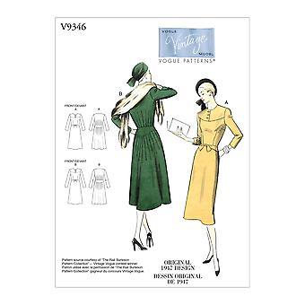 Vogue Coser Patrones 9346 Vintage Misses 1947 Tamaño de vestido 6-14