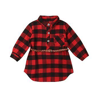 Детское платье, новорожденный ребенок Красный плед футболку