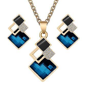 Fashion Crystal Pendants Necklace Earrings Sets