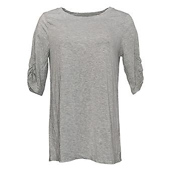 Cuddl Duds Women's Top Softwear W/ Stretch Ruched Elbow Sleeve Gray A391566