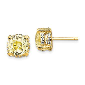 14k Gold Plated 925 Sterling Silver Post Earrings 8mm Canary CZ Cubic Zirconia Simulated Diamond Stud Earrings Measures