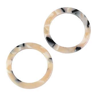 Zola Elements Acetate Connector Link, Círculo 23.5mm, 2 Piezas, Black Pearl Multi-Colored