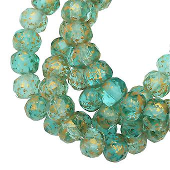 Tjeckiska glaspärlor, Faceted Rondelle 3x5mm, Aqua Green Transparent, Ant Gold, 1 Str, av Raven's Journey