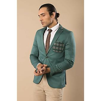 Chest pocket and collar modeled cotton green blazer