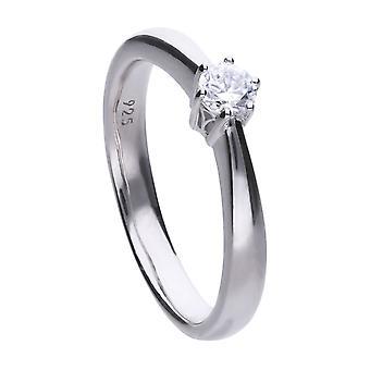 Diamonfire Dámske 925 Sterling Silver Rhodium, Palladium & Platinum Pokovované číre kubické zirkóniou 0,25ct Solitaire Ring