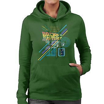Back to the Future Delorean Outline Countdown Dames Sweatshirt met capuchon
