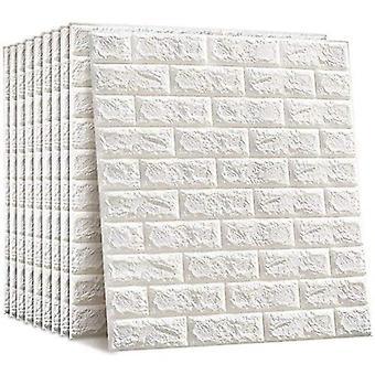 10 3d 77x70 Cm Self-adhesive Brick Waterproof White Wallpaper