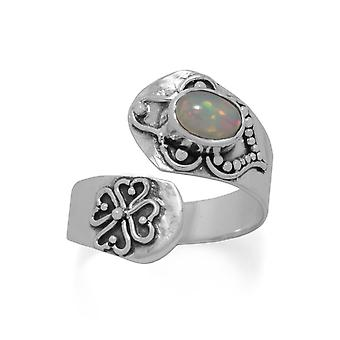 925 Sterling Silver Oxidized Ethiopian Opal Wrap Ring Spoon 5mm X 7mm White Jewelry Gifts for Women - Ring Size: 6 to 9