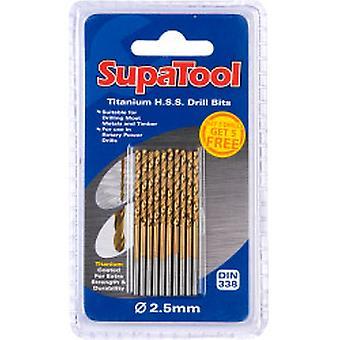 SupaTool Titanyum Kaplı HSS Matkap Uçları 2.5x57mm 10 Adet