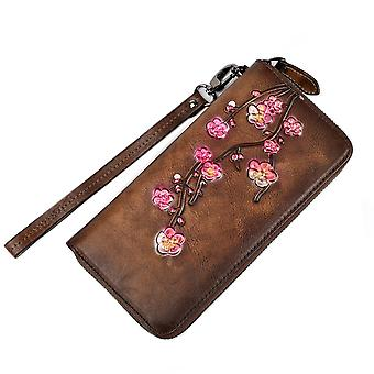 Flower Print Large Wallet With Wrist Strap