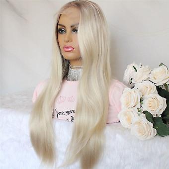 Peluca de encaje sintético recta larga para mujeres rubias con raíces marrones color parte media mano atada pelucas de encaje resistentes al calor