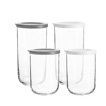 8 piezas Duo Glass Storage Jars Set Stackable Container Silicone Lid 2 Tamaños