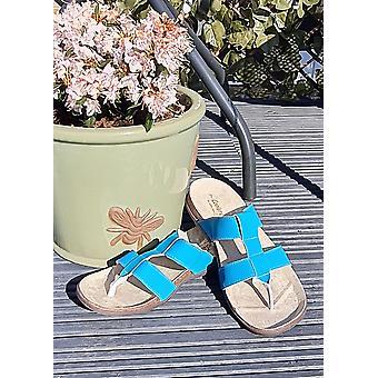 Ladies Toe Post Turquoise Sandals