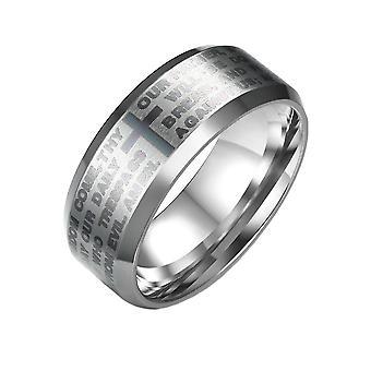 (Amerikaanse maat 13)  Heren Womens Stainless Steel English Lord's Prayer Cross Religieuze Ring Zilver 8mm
