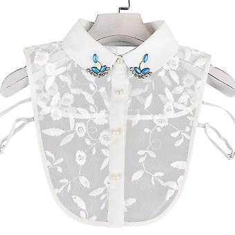 Blume Blatt gefälschte Kragen Spitze abnehmbare Bluse Diamant eingelegte halbe Hemden