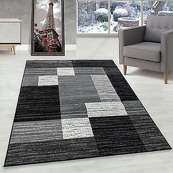 Tapis de salon tapis en flots moderne motif de carreaux Flor Doux Noir