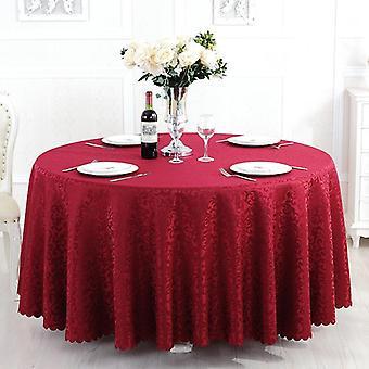 2m Polyester Jacquard dekorative Runde Tischdecke Druck Home Dekoration Tischdecke (Rot)