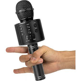 Karaoke mikrofon, 4 az 1-ben vezeték nélküli Bluetooth mikrofon, alkalmas éneklésre, felvételre, ünnepi születésnapi parti család (fekete)