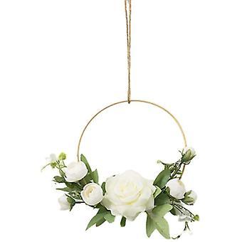 Złote wieńce kwiatowe do powieszenia na ścianie, sztuczny kwiat, okrągła ramka, różowa róża (biały)