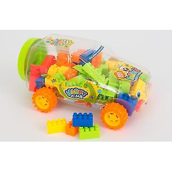 Plastic Colourful Building Blocks in Jeep Shape Container With Wheels for Gift