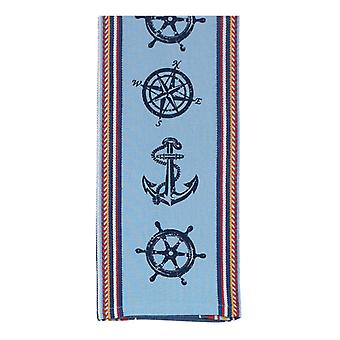 Nautical Anchor Compass Ship's Wheel Kitchen 18 x 28 Inch Tea Towel Kay Dee