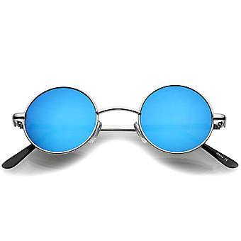 Liten Retro Lennon stil färgade spegel lins runda metall solglasögon 41mm