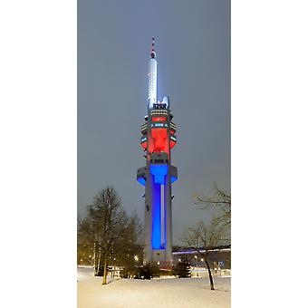 Zizkov Television Tower at night Prague Bohemia Czech Republic Poster Print by Panoramic Images