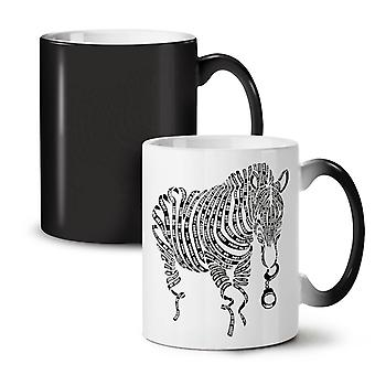 Zebra Tape Art Cop Animal NEW Black Colour Changing Tea Coffee Ceramic Mug 11 oz | Wellcoda