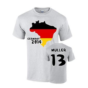 जर्मनी 2014 देश ध्वज टी शर्ट (मुलर 13)