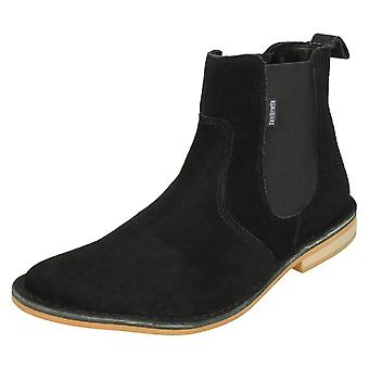 Mens Lambretta fotled stövlar Regent - svart mocka läder - UK storlek 10 - EU storlek 44 - US storlek 11