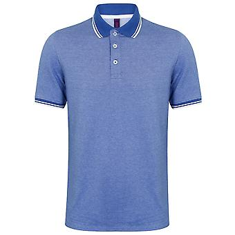 Henbury Mens bicolore manches courtes Piqué incliné Polo Shirt