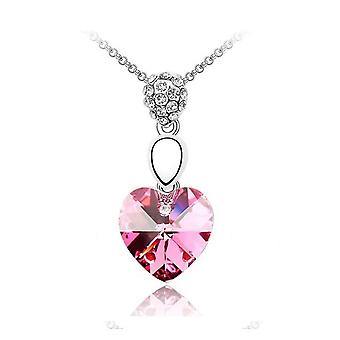 Womens Light Pink Crystal Elements Heart Necklace Pendant BG1467