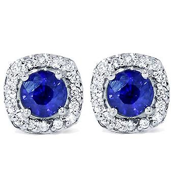 1 5 / 8ct Pavé Halo Saphir Diamant Ohrstecker 14K White Gold