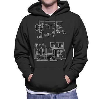 TRS 80 Computer Schematic Men's Hooded Sweatshirt