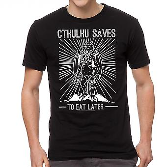 Warpo Cthulhu Saves Men's Black T-shirt