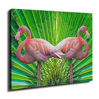 Flamigo Flower Wall Art Canvas 40cm x 30cm | Wellcoda